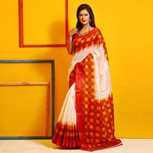 25836138a7 White and Red Half Silk Saree with Blouse Piece 2